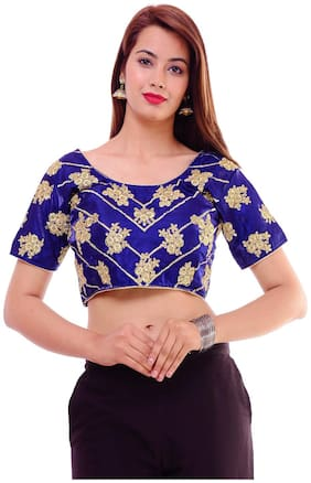 MAATE Blue Silk Short Sleeves Readymade with Pad Blouse