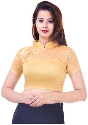 MAATE gold Lycra Readymade short sleeves with pearl Blouse