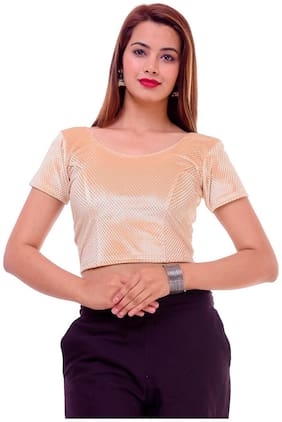 Maate GOLD Lycra readymade Partywear designer Short Sleeves Blouse without pad