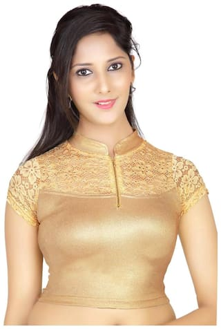 MAATE Gold Net Short Sleeves Readymade without Pad Blouse