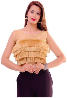 Maate Gold stylish readymade Partywear designer Sleevless Blouse With pad