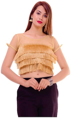 Maate Gold stylish readymade Partywear designer Short Sleeves Blouse With pad