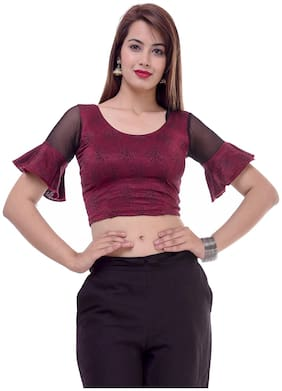 Maate Maroon Lycra readymade Partywear designer Frill Short Sleeves Blouse without pad