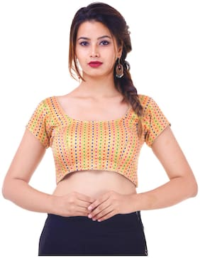 MAATE Multicoloured Silk Short Sleeves Readymade with Pad Blouse