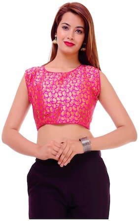 MAATE pink Banarsi Silk Short Sleeves Readymade with Pad Blouse