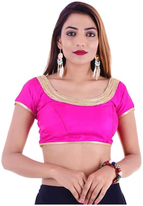 MAATE Pink Silk Short Sleeves Readymade with Pad Blous