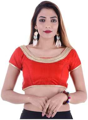 MAATE Red Silk  Short Sleeves  Readymade with Pad Blouse