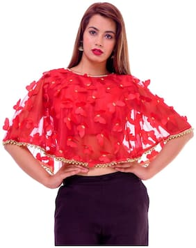 MAATE Red Silk Partywear designer Stitched Readymade with Pad Blouse WITH PONCHO