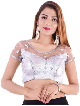MAATE Silver Shimmer Short Sleeves Readymade with Pad Blouse