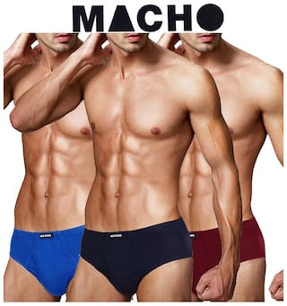Macho Solid Briefs - Assorted ,Pack Of 3