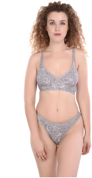 MADDIE Printed T-shirt bra Lingerie Set - Grey