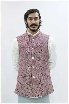 Madhu Shree Safa & Sherwani Men Purple Printed Slim Fit Ethnic Jacket