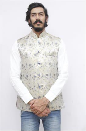 Madhu Shree Safa & Sherwani Men Grey Printed Slim Fit Ethnic Jacket