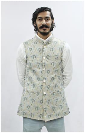 Madhu Shree Safa & Sherwani Men White Printed Slim Fit Ethnic Jacket