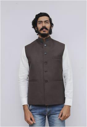 Madhu Shree Safa & Sherwani Men Brown Solid Slim Fit Ethnic Jacket