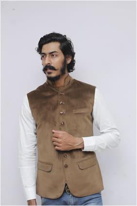Madhu Shree Safa & Sherwani Men Beige Solid Slim Fit Ethnic Jacket