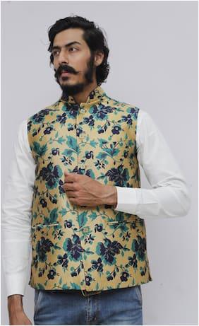 Madhu Shree Safa & Sherwani Men Turquoise Floral Slim Fit Ethnic Jacket