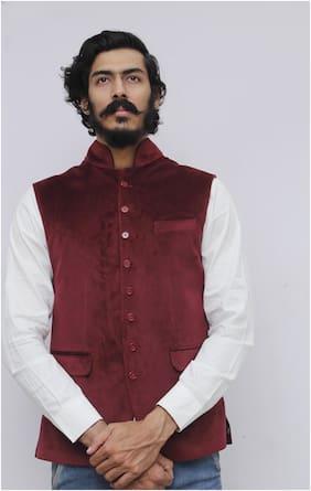 Madhu Shree Safa & Sherwani Men Maroon Solid Slim Fit Ethnic Jacket