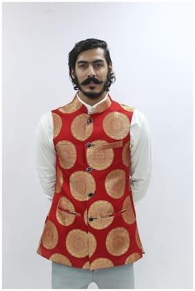 Madhu Shree Safa & Sherwani Men Red Printed Slim Fit Ethnic Jacket