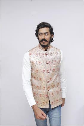 Madhu Shree Safa & Sherwani Men Beige Printed Slim Fit Ethnic Jacket