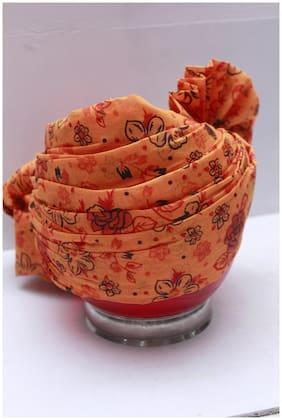 Madhu Shree Safa & Sherwani Jodhpuri Men's  Flower printed Orange Colour Readymade Turban