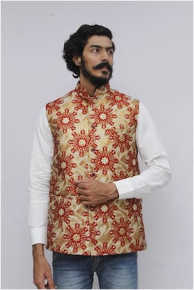 Madhu Shree Safa & Sherwani Men Beige Floral Slim Fit Ethnic Jacket