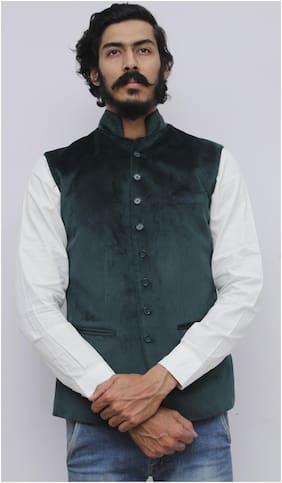 Madhu Shree Safa & Sherwani Men Green Solid Slim Fit Ethnic Jacket
