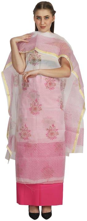 Madhulika Fashion White Unstitched Kurta with bottom & dupatta With dupatta Dress Material