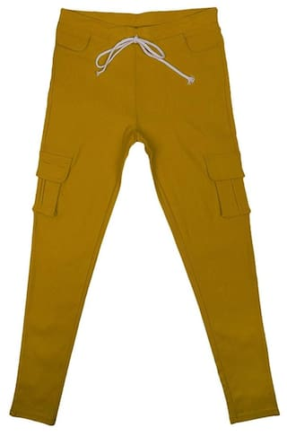 MagiDeal Womens Stretch Pencil Pants Casual Multi Pockets Trousers XL Ginger