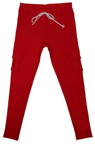 MagiDeal Womens Stretch Pencil Pants Casual Multi Pockets Trousers L Red