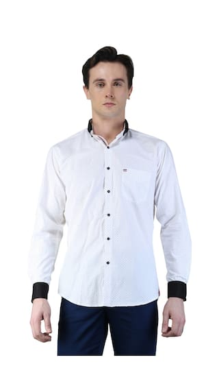 17676d09ea1 Buy Magnoguy Men s Dot Print Casual White Shirt Online at Low Prices ...