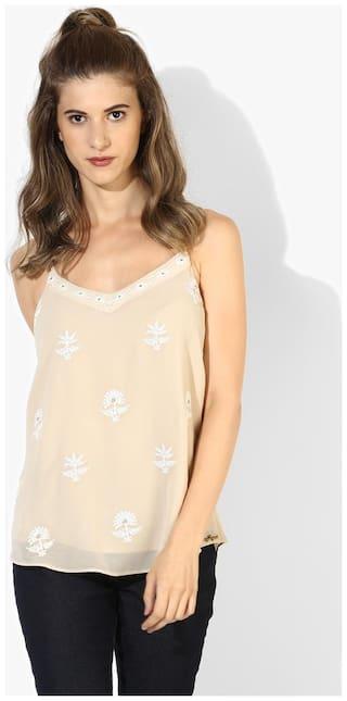 Magzayra Women Polyester Floral - Regular top Beige