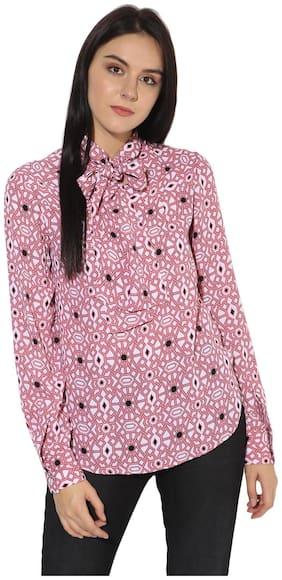 Magzayra Women Regular Fit Printed Shirt - Pink
