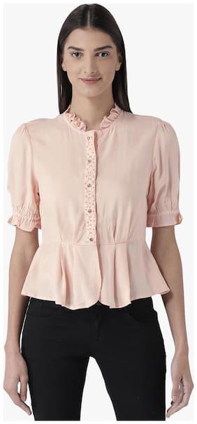 Magzayra Women Regular Fit Solid Shirt - Pink