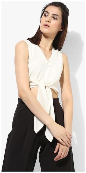 Magzayra Women Cotton Solid - Regular top White