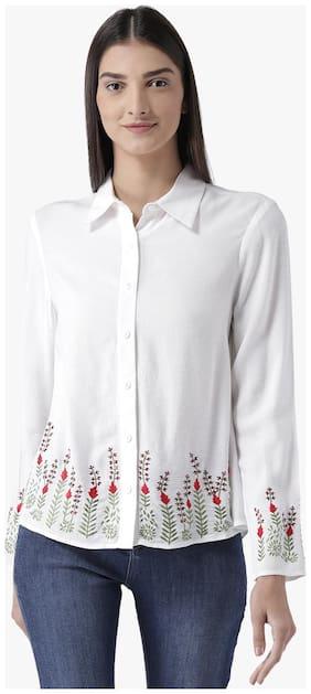 Magzayra Women Regular Fit Printed Shirt - White