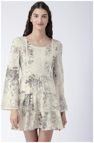Magzayra White Printed A-line dress