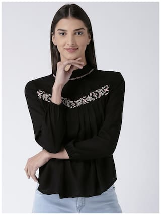 Magzayra Women Embellished Regular tunic - Black