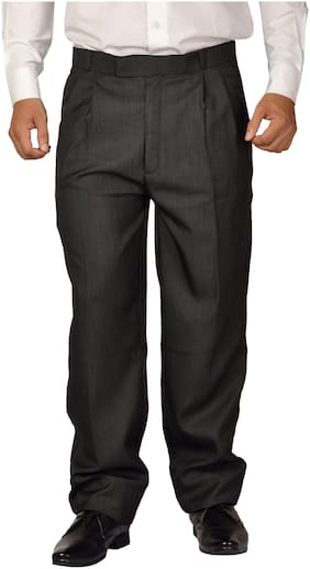 Maharaja Men Formal PolyViscose Parallel Fit Pleated Trouser in Black for Office Wear [JTR16203-36]