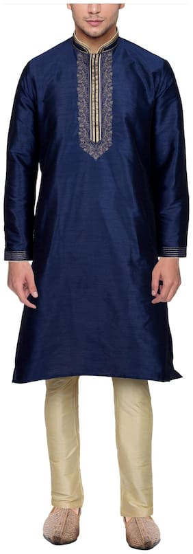 Maharaja Mens Raw Silk Embroidered Festive Kurta Pyjama Set in Blue