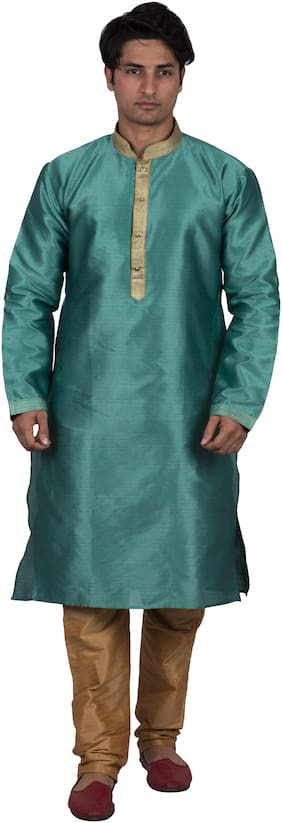 Maharaja Men Silk Green Kurta Pyjamas