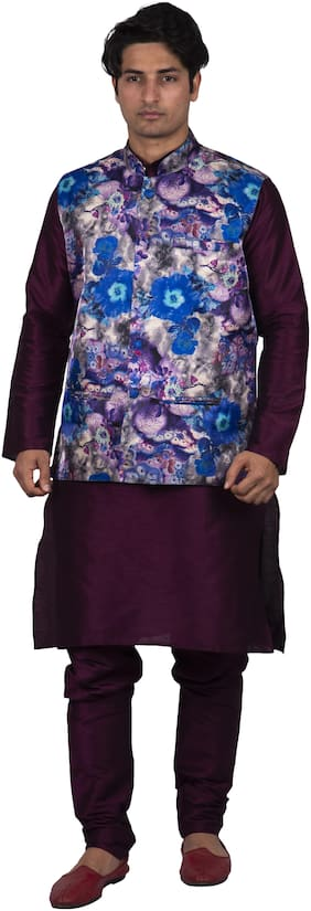 Maharaja Men Silk Purple Kurta Pyjamas