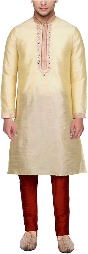 Maharaja Mens Raw Silk Embroidered Festive Kurta Pyjama Set in Gold