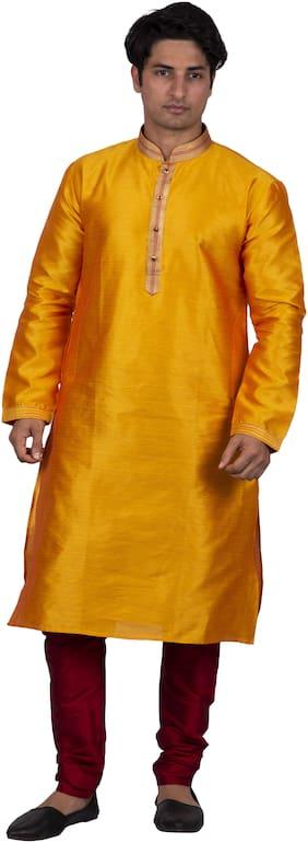 Maharaja Men Silk Yellow Kurta Pyjamas