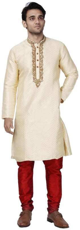 Maharaja Mens Jacquard Silk Embroidered Sherwani Kurta Pyjama Set for Weddings and Festivals in Beige