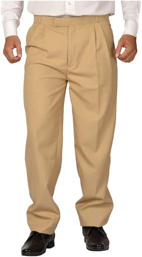 Maharaja Men PolyViscose Formal Pleated Parallel Fit Trouser in Beige [JTR1017--
