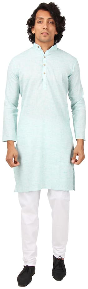 Maharaja Mens Cotton Linen Kurta Pyjama Set for Daily and Festive Wear in Green