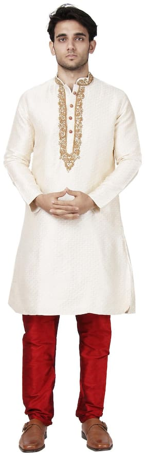 Maharaja Mens Jacquard Silk Embroidered Sherwani Kurta Pyjama Set for Weddings and Festivals in Ivory