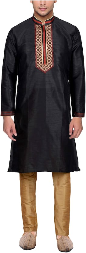 Maharaja Mens Raw Silk Embroidered Festive Kurta Pyjama Set in Black