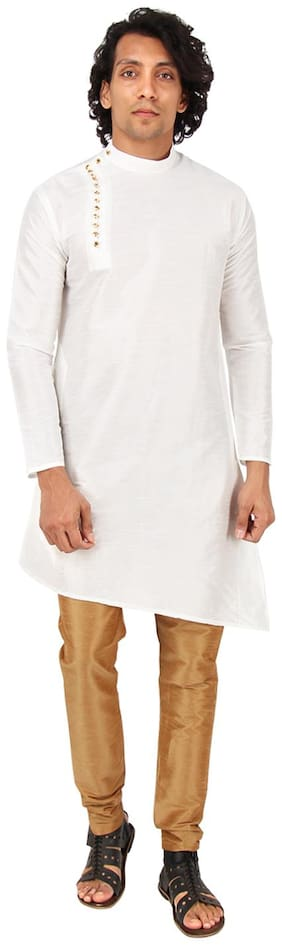 Maharaja Men Slim Fit Silk Full Sleeves Solid Kurta Pyjama - White
